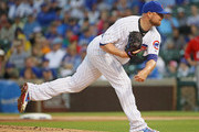 Starting pitcher Jon Lester #34 of the Chicago Cubs delivers the ball against the Washington Nationals at Wrigley Field on August 6, 2017 in Chicago, Illinois.
