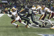 Free safety DeAngelo Hall #23 of the Washington Redskins breaks up a last-second pass against tight end Jimmy Graham #88 of the Seattle Seahawks during the fourth quarter of the game against the Washington Redskins at CenturyLink Field on November 5, 2017 in Seattle, Washington. The Redskins won 17-14.