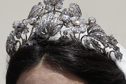 Detail of the bride's crown during the wedding of Prince Christian of Hanover and  Alessandra de Osma at Basilica San Pedro on March 16, 2018 in Lima, Peru.