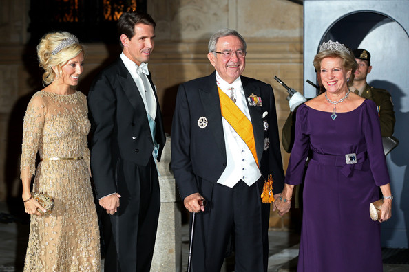 (L-R)  Princess Marie Chantal of Greece, Prince Pavlos of Greece, King Constantine of Greece and Queen Anne Marie of Greece attend the Gala dinner for the wedding of Prince Guillaume Of Luxembourg and Stephanie de Lannoy at the Grand-ducal Palace on October 19, 2012 in Luxembourg, Luxembourg. The 30-year-old hereditary Grand Duke of Luxembourg is the last hereditary Prince in Europe to get married, marrying his 28-year old Belgian Countess bride in a lavish 2-day ceremony.