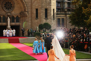 Princess Stephanie of Luxembourg is led to the church by her brother Count Jehan de Lannoy prior to the wedding ceremony of Prince Guillaume Of Luxembourg and Princess Stephanie of Luxembourg at the Cathedral of our Lady of Luxembourg on October 20, 2012 in Luxembourg, Luxembourg. The 30-year-old hereditary Grand Duke of Luxembourg is the last hereditary Prince in Europe to get married, marrying his 28-year old Belgian Countess bride in a lavish 2-day ceremony.