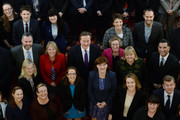 Prime Minister David Cameron and Education Secretary Nicky Morgan pose for a group photograph with almost 200 head teachers from 300 free schools from across the country, at a reception held on October 13, 2014. in London, England.