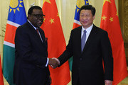 Chinese President Xi Jinping (R) shakes hands  with Namibian Prime Minister Hage Geingob before a meeting at the Great Hall of the People April 8, 2014 in Beijing, China. (Photo by Parker Song-Pool/Getty Images).