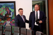 Minister of Work and Social Affairs Hubertus Heil (SPD, L) and Chancellery Minister Helge Braun (CDU) arrive for the weekly German federal Cabinet meeting on August 29, 2018 in Berlin, Germany. High on the meeting's agenda was discussion of pension policy.