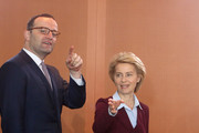 Health Minister Jens Spahn (CDU, L) and Defense Minister Ursula von der Leyen (CDU) arrive for the weekly German federal Cabinet meeting on June 27, 2018 in Berlin, Germany. High on the meeting's agenda was discussion of legislation of family tax matters.