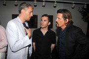 (L-R) Producer John Battsek, Russell Baer and actor Josh Brolin talk at the after party for the premiere of The Tillman Story presented by The Weinstein Company and A&E IndieFilms at Michael's on August 9, 2010 in New York City.