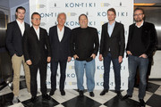 "(L-R) Actor Pal Hagen, director Espen Sandberg, screenwriter Petter Skavlan, producer Harvey Weinstein, Olav Heyerdahl and director Joachim Ronning attend The Weinstein Company screening of ""KON-TIKI"" at Paris Theatre on April 22, 2013 in New York City."