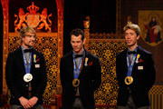 Skaters Michel Mulder, Stefan Groothuis and Jorrit Bergsma pose with their Geridderd (Knighthood) medals during the Welcome Home Reception Held For Dutch Winter Olympic Medalists held at the Ridderzaal on February 25, 2014 in The Hague, Netherlands.