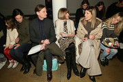 Hamish Bowles (3rd L), Anna Wintour (C) and Virginia Smith (2nd R) attend Wes Gordon runway show during MADE Fashion Week Fall 2015 at Milk Studios on February 13, 2015 in New York City.