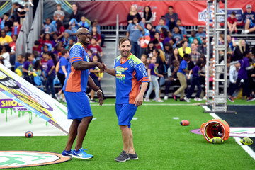 Wes Welker Nickelodeon's Superstar Slime Showdown at Super Bowl