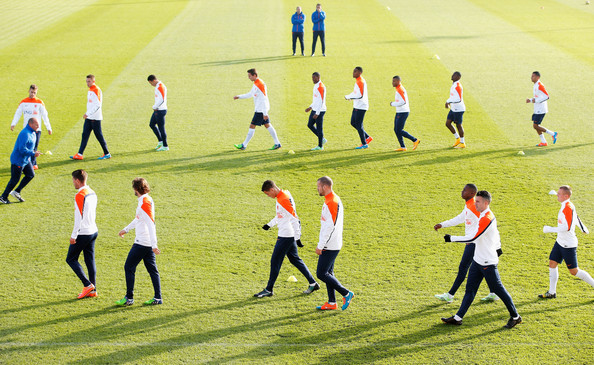 Netherlands Training Session [player,sports,team sport,sport venue,football player,ball game,sports equipment,football,team,stadium]