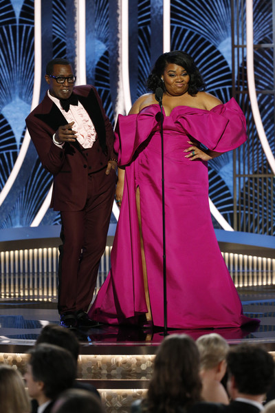 NBC's '77th Annual Golden Globe Awards' - Show [handout photo,pink,event,performance,outerwear,magenta,costume,wesley snipes,davine joy randolph,the beverly hilton hotel,beverly hills,california,nbc,nbcuniversal media llc,77th annual golden globe awards,show,davine joy randolph,73rd golden globe awards,office christmas party,joaquin phoenix,celebrity,actor,hollywood foreign press association,golden globe award for best actor \u2013 motion picture \u2013 drama]