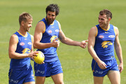 Mark LeCras, Josh Kennedy and Luke Shuey walk laps during a West Coast Eagles AFL training session at Subiaco Oval on September 10, 2018 in Perth, Australia.