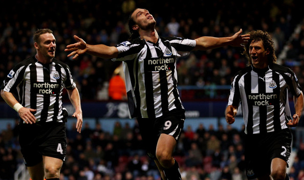 Andrew Carroll of Newcastle United celebrates scoring their second goal during the Barclays Premier League match between West Ham United and Newcastle United at The Boleyn Ground on October 23, 2010 in London, England.