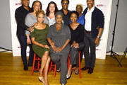 """(L-R, Top) Larry Powell, S. Epatha Merkerson, Sheryl Kaller, playwright Billy Porter, Lillias White, Kevyn Morrow,  (L-R, Bottom) Sheria Irving, Elain Graham and Sharon Washington attend the """"While I Yet Live"""" Press Preview at Primary Stages Rehearsal Studio on September 12, 2014 in New York City."""