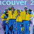 Daniel Richardsson Photos - Sweden celebrate winning the gold medal for the cross country skiing men's 4 x 10 km relay during the medal ceremony on day 13 of the Vancouver 2010 Winter Olympics at Whistler Medals Plaza on February 24, 2010 in Whistler, Canada. - Whistler Medal Ceremony - Day 13