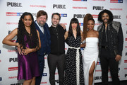 """Suzan-Lori Parks, Oskar Eustis, Thomas Sadoski, Zoe Winters, Sheria Irving and Daveed Diggs attend """"White Noise"""" Opening Night at The Public Theater on March 20, 2019 in New York City."""