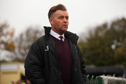 Whitehawk Manager Steve King looks on prior to the Emirates FA Cup First Round match between Whitehawk FC and Lincoln City at The Enclosed Ground on November 8, 2015 in Brighton, England.