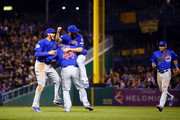 Jake Arrieta #49 of the Chicago Cubs celebrates with Anthony Rizzo #44 of the Chicago Cubs and Kris Bryant #17 of the Chicago Cubs after defeating the Pittsburgh Pirates to win the National League Wild Card game at PNC Park on October 7, 2015 in Pittsburgh, Pennsylvania. The Chicago Cubs defeated the Pittsburgh Pirates with a score of 4 to 0.