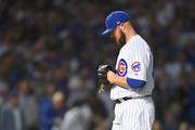 Jon Lester #34 of the Chicago Cubs walks to the mound in the first inning against the Colorado Rockies during the National League Wild Card Game at Wrigley Field on October 2, 2018 in Chicago, Illinois.
