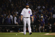 Jon Lester #34 of the Chicago Cubs walks to the dugout after the fifth inning against the Colorado Rockies during the National League Wild Card Game at Wrigley Field on October 2, 2018 in Chicago, Illinois.