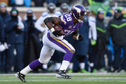 Adrian Peterson #28 of the Minnesota Vikings carries the ball in the fourth quarter against the Seattle Seahawks during the NFC Wild Card Playoff game at TCFBank Stadium on January 10, 2016 in Minneapolis, Minnesota.