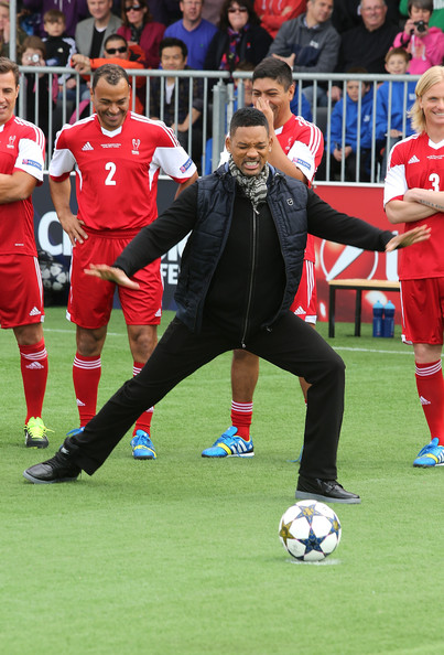 Will Smith attends UEFA's Champions Festival which comes to London to coincide with Wembley hosting the Champions League final at Queen Elizabeth Olympic Park on May 25, 2013 in London, England.  Jaden Smith and Will Smith are in London ahead of the release of their film 'After Earth'.