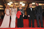"""(L-R) Actresses Naomi Watts, Lucy Punch, Gemma Jones, Director Woody Allen and Actor Josh Brolin depart """"You Will Meet A Tall Dark Stranger"""" Premiere at the Palais des Festivals during the 63rd Annual Cannes Film Festival on May 15, 2010 in Cannes, France."""