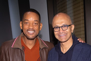 (L-R) Will Smith and CEO of Microsoft Satya Nadella visit Microsoft for the Outside-In Fireside Chat in support of GEMINI MAN on October 3, 2019 in Seattle, WA.