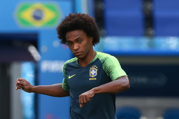 Willian Brazil Training And Press Conference - FIFA World Cup Russia 2018