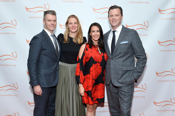 2019 A Funny Thing Happened On The Way To Cure Parkinson's - Arrivals [a funny thing happened on the way to cure parkinson,red,yellow,event,fashion,carpet,businessperson,award,premiere,suit,flooring,arrivals,willie geist,christina geist,libby geist-wildes,kevin wildes,happened on the way to cure parkinson,new york city,the michael j. fox foundation]