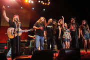 Willie Nelson & Family are joined by Jamey Johnson, Lukas Nelson, Amy Nelson, guest, guest, Randy Houser and guest. during Willie Nelson's Country Throwdown Tour 2011 at The Woods in Fontanel on June 3, 2011 in Nashville, Tennessee.