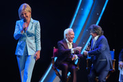 (L-R) Carmen Nebel, Tony Christie and Andy Borg perform on stage during the tv show 'Willkommen bei Carmen Nebel' at Tempodrom on April 7, 2016 in Berlin, Germany.