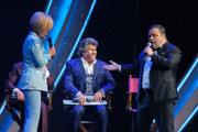 (L-R) Carmen Nebel, Andy Borg and Paul Potts perform on stage during the tv show 'Willkommen bei Carmen Nebel' at Tempodrom on April 7, 2016 in Berlin, Germany.