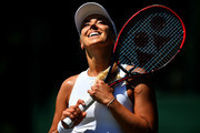 Sabine Lisicki of Germany serves reacts Anna Kalinskaya of Russia during Wimbledon Championships Qualifying - Day 2 at The Bank of England Sports Centre on June 26, 2018 in London, England.