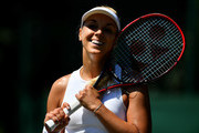 Sabine Lisicki of Germany reacts against Anna Kalinskaya of Russia during Wimbledon Championships Qualifying - Day 2 at The Bank of England Sports Centre on June 26, 2018 in London, England.