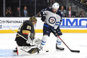 Marc-Andre Fleury #29 of the Vegas Golden Knights stops a shot from Paul Stastny #25 of the Winnipeg Jets during the third period in Game Four of the Western Conference Finals during the 2018 NHL Stanley Cup Playoffs at T-Mobile Arena on May 18, 2018 in Las Vegas, Nevada.