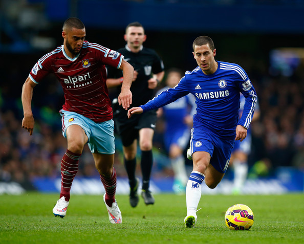 Winston reid and eden hazard chelsea v west ham united premier