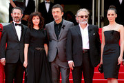 (L-R) Actress Demet Akbag, guest, writer Ebru Ceylan, director Nuri Bilge Ceylan, Actor Haluk Bilginer, and actress Melisa Sozen attends the 'Winter Sleep' premiere during the 67th Annual Cannes Film Festival on May 16, 2014 in Cannes, France.