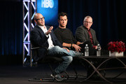 (L-R) Executive Producer/Writer Damon Lindelof, actor Justin Theroux and Executive Producer/Writer Tom Perrotta speak onstage during the 'The Leftovers' panel discussion at the HBO portion of the 2014  Winter Television Critics Association tour at the Langham Hotel on January 9, 2014 in Pasadena, California.