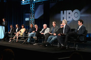 (L-R) Kim Benabib, Co-Executive Producer; actors Maribeth Monroe, Carla Gugino, Aasif Mandvi, Roberto Benabib, .Executive Producer; Jerry Weintraub, Executive Producer; Jay Roach, Executive Producer/Director; actors Jack Black, Tim Robbins and Pablo Schreiber speaks onstage during 'The Brink' panel at the HBO portion of the 2015 Winter Television Critics Association press tour at the Langham Hotel on January 8, 2015 in Pasadena, California.