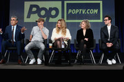 (L-R) Actors Eugene Levy, Chris Elliott, Annie Murphy, Catherine O'Hara and Dan Levy speak onstage during the 'Schitt's Creek' panel at the Pop Network portion of the 2015 Winter Television Critics Association press tour at the Langham Hotel on January 9, 2015 in Pasadena, California.