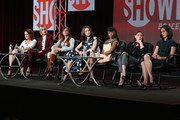 (L-R) Screenwriter Michelle Ashford, actress Caitlin Fitzgerald, executive producer Nancy M. Pimental, actors Emmy Rossum and Shanola Hampton, executive producer Sarah Treem  and actress Maura Tierney speak onstage during the 'Sexuality and Television: A Female Perspective'' panel as part of  the CBS/Showtime 2015 Winter Television Critics Association press tour at the Langham Huntington Hotel & Spa on January 12, 2015 in Pasadena, California.