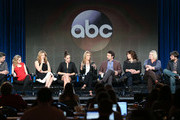 L-R) Actors Chris Parnell, Allie Grant, Ana Gasteyer, Carly Chaikin, Cheryl Hines, Jeremy Sisto, Executive Producers Emily Kapnek, Patricia Breen and Co-Executive Producer Andrew Guest of the television show ÔSuburgatoryÕ speak onstage during the Disney ABC Television Group portion of the 2014 Winter Television Critics Association press tour at the Langham Hotel on January 17, 2014 in Pasadena, California.