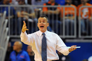 Coach Billy Donovan of the Florida Gators directs play against the Wisconsin Badgers November 14, 2012 at Stephen C. O'Connell Center in Gainesville, Florida.