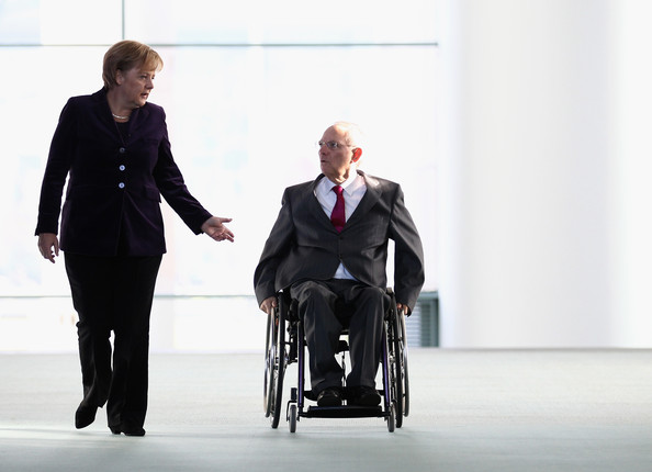 Wolfgang Schaeuble German Chancellor Angela Merkel and German Finance Minister Wolfgang Schaeuble arrive for a press conference at the Chancellery (Bundeskanzleramt) on November 10, 2010 in Berlin, Germany. German Chancellor Merkel and Schaeuble brief the media for the upcoming G20 Seoul summit.