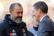 Nuno Espirito Santo, Manager of Wolverhampton Wanderers and Javi Gracia, Manager of Watford speak prior to the Premier League match between Wolverhampton Wanderers and Watford FC at Molineux on October 20, 2018 in Wolverhampton, United Kingdom.