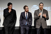 "Chaske Spencer, Sam Rockwell and Michael Greyeyes speak during panel at the Screening of ""Woman Walks Ahead"" - 2018 Tribeca Film Festival at BMCC Tribeca PAC on April 25, 2018 in New York City."