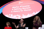 Actress and activist Ashley Judd (C) speaks as U.S. Rep. Jackie Speier (L) (D-CA) and Co-Founder of We Said Enough Adama Iwu (R) look on during the 29th annual Conference of the Professional Businesswomen of California (PBWC) on April 24, 2018 in San Francisco, California. The PBWC is a day of keynote speakers and seminars by top female leaders and panels of industry experts.