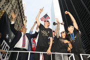 Megan Rapinoe, Alex Morgan and Allie Long celebrate during the U.S. Women's National Soccer Team Victory Parade and City Hall Ceremony on July 10, 2019 in New York City.